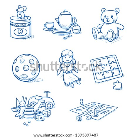 Set of children's toys as doll, ball, doll's dishes, jigsaw puzzle, board game, teddy bear and tooth box. Hand drawn blue line art cartoon vector illustration.