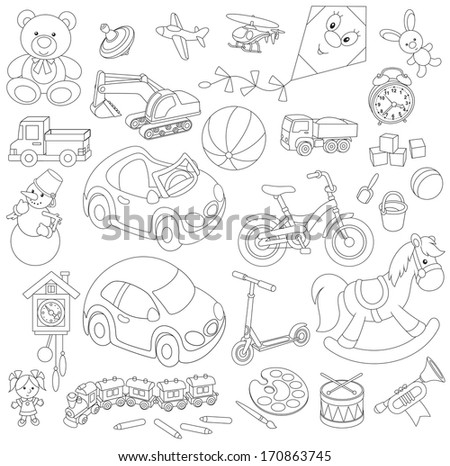 Set of children's toys in cartoon style black and white outline illustrations on a white background