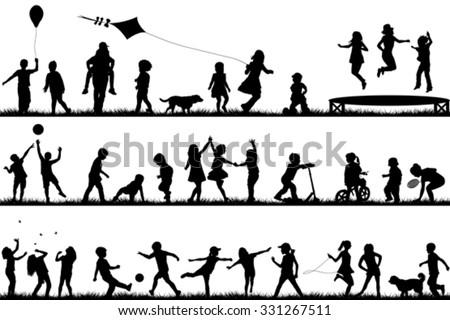 Set of children silhouettes playing outdoor #331267511