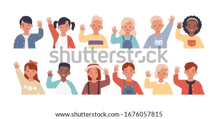 Set of children waving their hands in greeting. Collection of kids, boys and girls greet, raising hands. Vector illustration in a flat style
