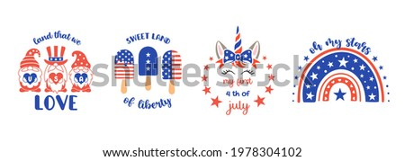 Set of childrens patriotic illustrations. Cute vector prints for 4th of July. Independence day design elements in the colors of the US national flag. Baby, kids patriotic designs.