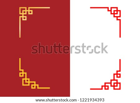 Set of Chinese corner in linear style, vector