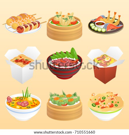 Set of Chinese food bowls with soup and rice, desserts on chopsticks, vegetable and meat dishes, in take away containers and on plates, delicious pies vector