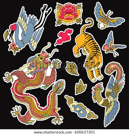 set of chinese patches elements