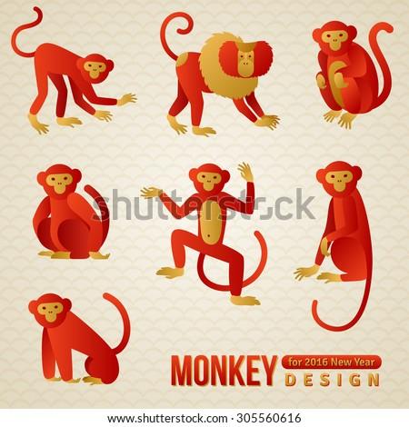 Set of Chinese Zodiac Monkeys. Vector illustration. 2016 New Year Symbol.