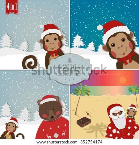 Set of chinese zodiac monkeys vector illustration 2016 new year set of chinese zodiac monkeys vector illustration 2016 new year symbol monkey m4hsunfo