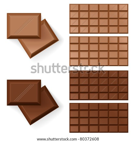Set of Chocolate bars. Illustration on white background - stock vector