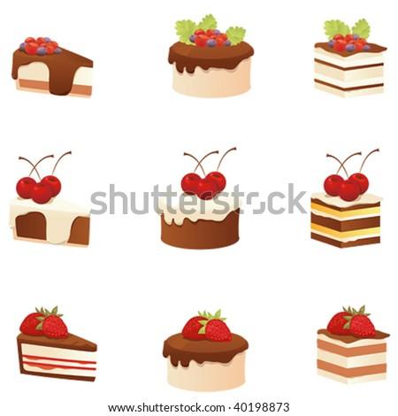 set of chocolate cake