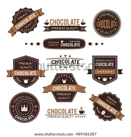 Set of chocolate design logo and icons. Vector illustration