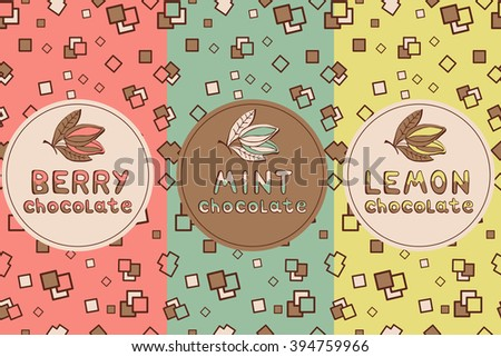 Set of chocolate seamless, for flavors - banana, lemon, strawberry, mint. It can be used for packaging, scrap booking, fills, fabrics