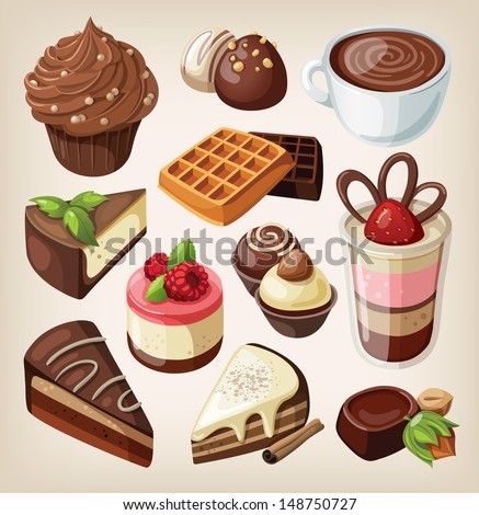Set of chocolate sweets, cakes and other chocolate food