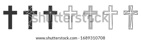 Set of Christian Cross. Abstract vector icons isolated. Vector illustration. Various black Christian Crosses. Сток-фото ©
