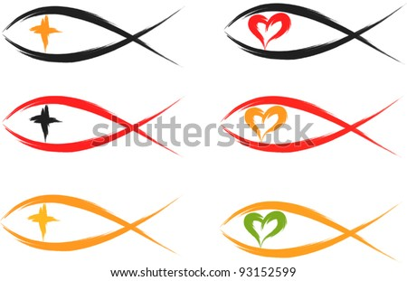 set of christian fish symbols - stock vector