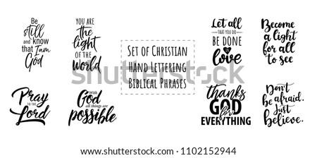 set of christian hand lettering