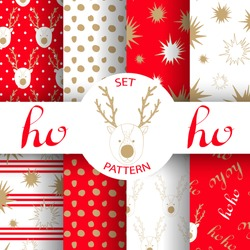 set of Christmas abstract vector paper with Christmas symbols and design elements for scrapbook. Gold and red.