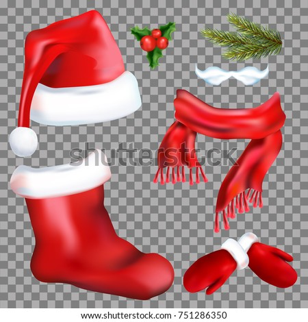 stock-vector-set-of-christmas-accessories-santa-claus-on-transparent-background-hat-boots-mittens-scarf