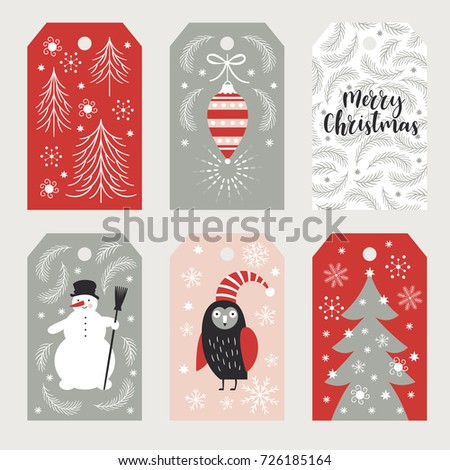set of christmas and happy new year cards