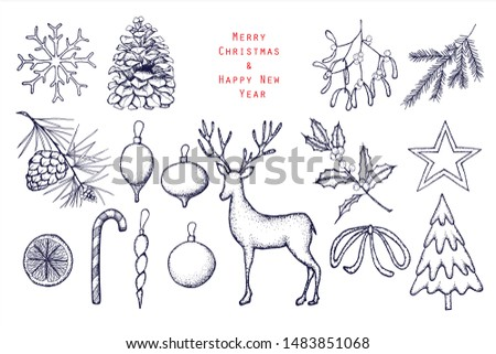 Set of Christmas and Happy New Year illustrations . Scandinavian style.Engraved top view illustration. Vector illustration. Background template for design. Hand drawn elements . Linear graphic.