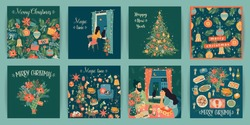 Set of Christmas and Happy New Year illustrations. Trendy retro style. Vector design templates.