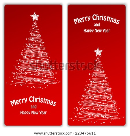 Set of Christmas and New Year banners with snowflakes and a Christmas tree