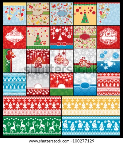 Set of Christmas and New Year cards with embroidery seamless patterns