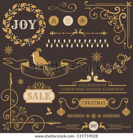 Set of Christmas and New Year decorations. Collection of vector elements for greeting card, party invitations, sale label, page and web decor or other holiday design.