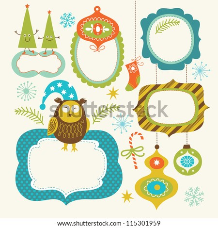 Stock Photo Set of Christmas and New Year elements, cute frames for your text