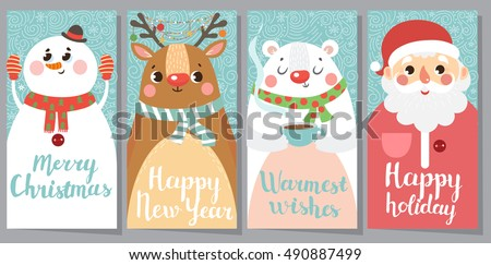 Free vector christmas greeting card download free vector art set of christmas and new year greeting cards vector illustration m4hsunfo