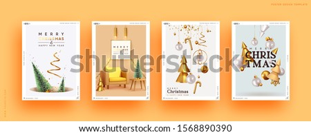Set of Christmas and New Year holiday gift cards. Xmas banners, web poster, flyers and brochures, greeting cards, group bright covers. Design with realistic Christmas decoration objects.