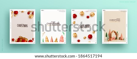 Set of Christmas and New Year holiday gift cards. Xmas banners, web poster, flyers and brochures, greeting cards, group bright covers. Design realistic Christmas decoration objects gift box and balls