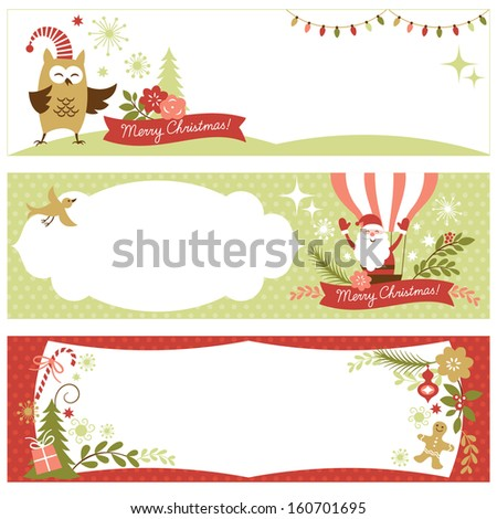 set of Christmas and New Year's banners
