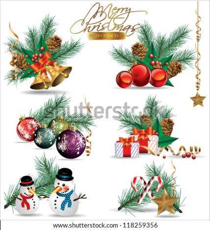 Set of Christmas and New Year's decoration elements isolated on a white background.