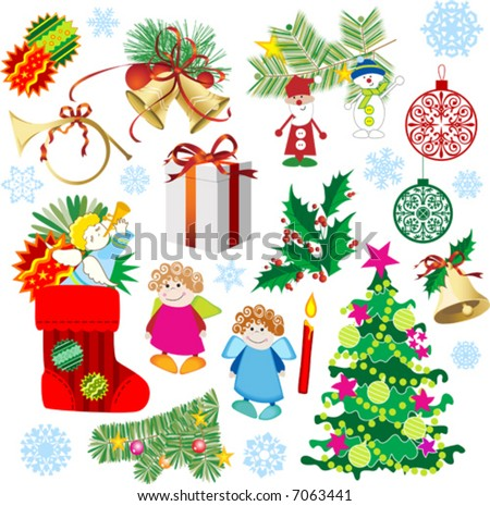 Set of Christmas and New-Year's decorations. Vector illustration.