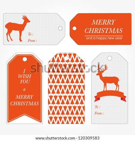 Set of Christmas and New Year's gift tags. Retro vintage gift tags. Vector illustration