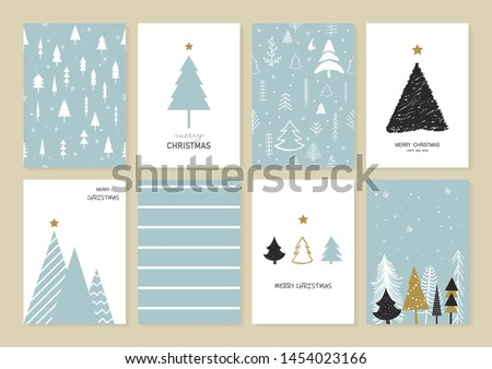 Set of Christmas and New Year's greeting card decorated with Christmas tree, Snowflakes, and Decorations.Cartoon style.Wallpaper, graphic. scribble cute simple design. Holiday. Vector illustration.
