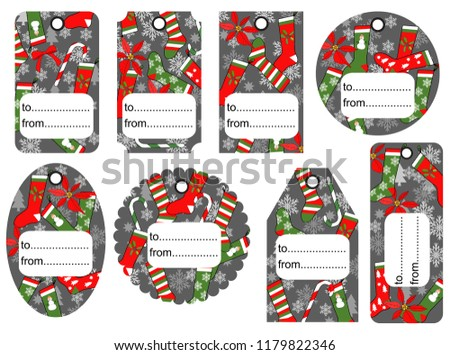 set of christmas and new year tags blank and as a gift for a present