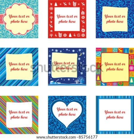 Set of Christmas Backgrounds. Set of design-ready photo frames isolated on White background. Vector illustration