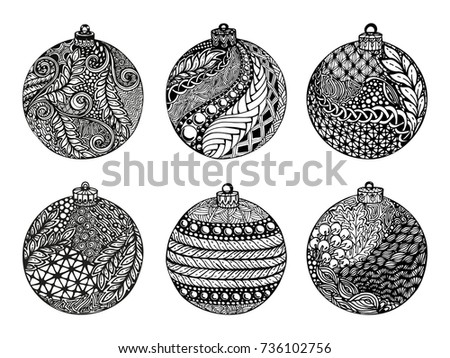 Set Of Christmas Ball Hand Drawn Design For Background Holiday Greeting Cards And