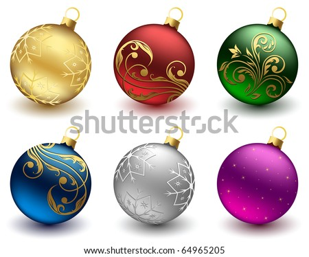 Set of Christmas balls on white background, illustration