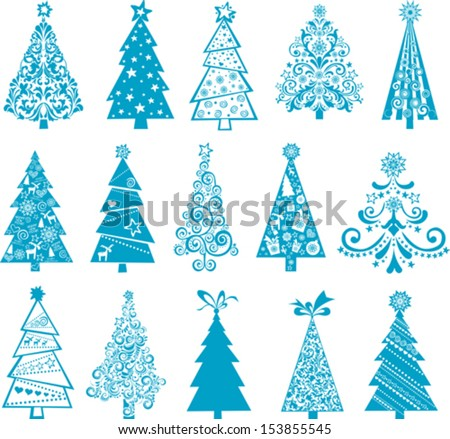 set of christmas blue trees
