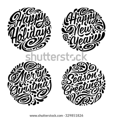 Set of Christmas calligraphic elements. Vector illustration