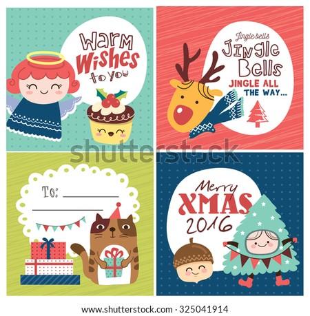 set of christmas card  gift tag