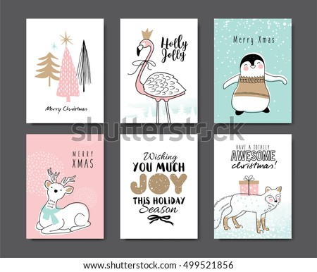 set of christmas card with cute