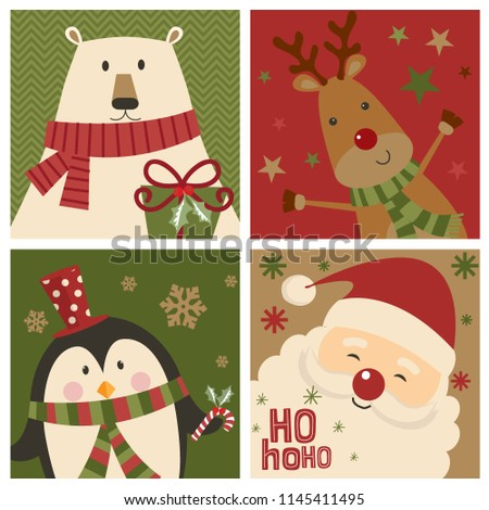 Set of Christmas card with cute character, Santa Clause, bear, reindeer and penguin