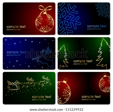 Set of Christmas cards, illustration.