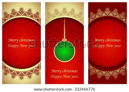 set of christmas cards in victorian style template frame for greeting card and invitation