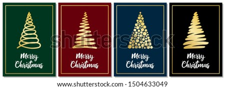 set of 4 christmas cards with