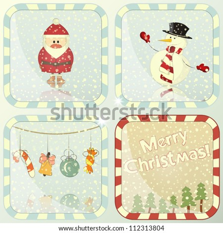 set of Christmas cards with Santa Claus and Snowman - vector illustration