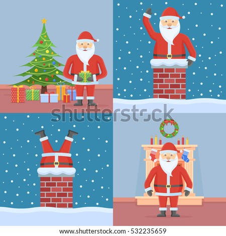 set of christmas cards with