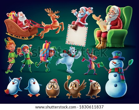 set of christmas characters for decorations